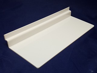 White Molded Styrene Flat Shelf For Slatwall or Slotwall