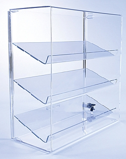 Upright Countertop Acrylic showcases with slanted shelves