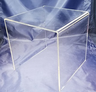 3/8 thick Clear Acrylic Square U Riser in Plexi or Lucite