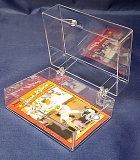 Clear Molded Styrene Plastic 2 Piece Hinged Trading Card or Sports Card Box Container
