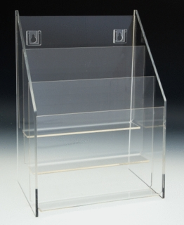 Multiple Pocket Acrylic and Plastic Brochure and Literature Holders in Lucite or Plexi