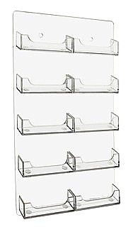WH10xBC Clear Acrylic Wallmount 10 Pocket Business Card and Gift Card Holders