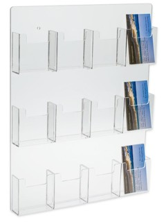 WH12xBCV Clear Wallmount Multiple Vertical Business and Gift Card Holders in Acrylic, Lucite and Plexi