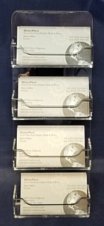 WH4xBC-C Wallmount 4 Slot Business Card Displays in Acrylic, Lucite, Plexiglas, Plexiglass and Plexi