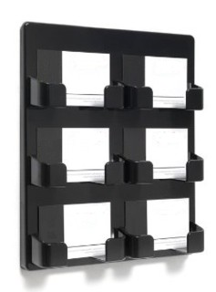 WH6xBC-BK Black Molded Styrene Wallmount 6 Slot Business Card and Gift Card Displays