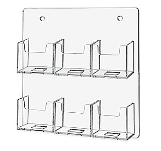 WH6xBC-V Clear Acrylic Wallmount 6 Pocket Vertical Business Card Holders