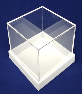 Clear Acrylic 5-Sided Boxes with White Bases made from Plexi, Plexiglas, Plexiglass, lucite and plastic