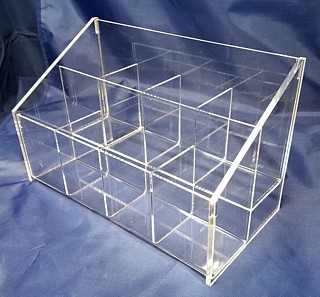Acrylic Sectioned Displays, Racks with Dividers, and Compartment Trays, Plexiglas, Plexiglass, Lucite, Plastic, plexi