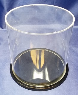 Clear Acrylic Round Cylinder Display Case with Clear or Black Base